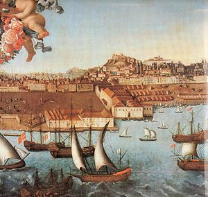 Casa dos Bicos - A view along the Tagus River, c. 1730, showing the area in Santa Maria Maior and the Casa dos Bicos (tenth from the right in front of the right square)