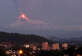 Geology of Chile - Llaima volcano in eruption