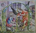 Lletra capitular amb l'escena de l'alliberació de sant Pere per l'àngel, museu de la Ciutat, València.JPG