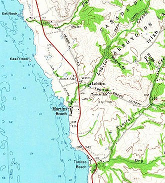 Lobitos, California - Lobitos as located on a 1961 USGS map