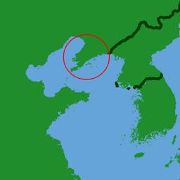 Liaodongs beliggenhed i det nordøstlige Kina.