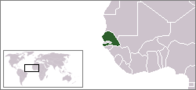A map showing the location of Senegal