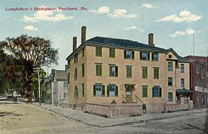 Henry Wadsworth Longfellow - Birthplace of Henry Wadsworth Longfellow, Portland, Maine, c. 1910. The house was demolished in 1955.