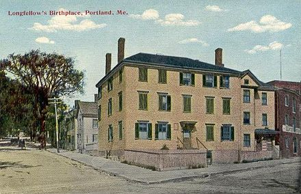 Birthplace of Henry Wadsworth Longfellow, Portland, Maine, c. 1910; the house was demolished in 1955.