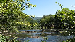 photograph of the Tuckasegee River taken from the right bank above Bryson City, North Carolina