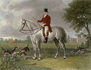 "Thomas Cholmondeley, 1st Baron Delamere - ""Lord Delamere,"" etching by Henry Calvert (1798–1869). Thomas Cholmondeley astride a dappled grey hunter."
