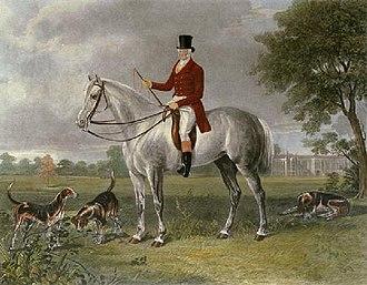 "Thomas Cholmondeley, 1st Baron Delamere - ""Lord Delamere,"" etching by Henry Calvert (1798–1869). Thomas Cholmondeley astride a dappled grey hunter."