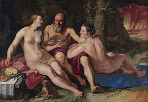 Lot and his Daughters (1616 painting by Hendri...