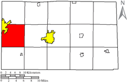 Location of Loudon Township (red) in Seneca County, adjacent to the city of Fostoria (yellow).