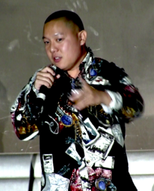 Eddie Huang at a panel discussion for the show Fresh off the Boat