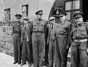 Lt Gen Lashner G Whistler (General Officer Commanding-in-Chief of the Western Command) with local Home Guard commanders at Oswestry (5470501779).jpg