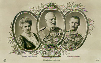King Ludwig III, his consort Maria Theresia and their son crown prince Rupprecht LudwigIIIfamily.jpg