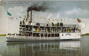 Manhattan Beach (Denver) - The steamboat Frolic entertained visitors at Manhattan Beach after the park was rebuilt (in 1908) as Luna Park.