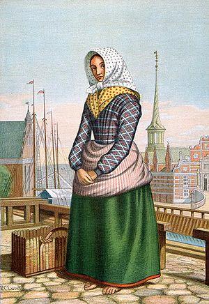 "Skovshoved - ""An Girl from Skovshoved"", selling fish at Gammel Strand, 1864"