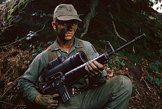 Night-vision device - An M16A1 rifle fitted with the AN/PVS-2 Starlight scope