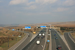 M62 motorway - M62 J22, the highest point on the motorway as seen from the Pennine Way