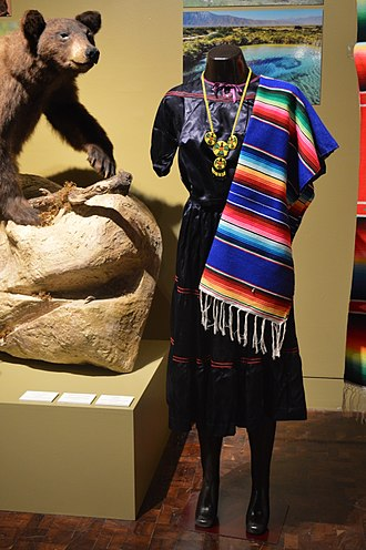 Mexican Kickapoo - Kikapú woman's traditional dress on display at the Museo de Arte Popular in Mexico City.