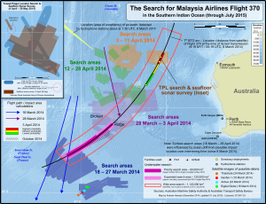 45×90 points - Possible debris from Malaysia Airlines Flight 370 (colored spots in lower left) were spotted by satellite near 45°S, 90°E.