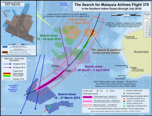 La zona delle ricerche nell'Oceano Indiano del sud.