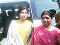 MP Dimple Yadav with ZP Member Sushma Sisodia.jpg