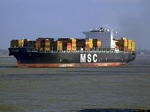 MSC Chicago p1, leaving Port of Rotterdam, Holland 08-Mar-2007.jpg