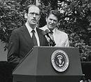M Peter McPherson at lectern in 1981.jpg