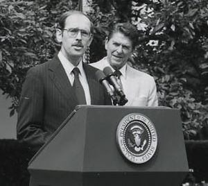 M. Peter McPherson - in the White House Rose Garden in 1981