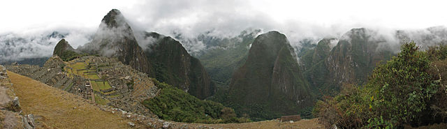 Machu Picchu Sanctuary, showing the prominent peak of Huayna Picchu
