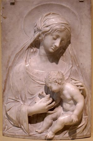 Alceo Dossena - Madonna and Child, marble sculpture by Alceo Dossena, 1930, San Diego Museum of Art