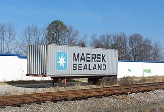 History of Maersk - Maersk Sealand container on a trailer