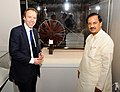 Mahesh Sharma and the Secretary of State for Digital, Culture, Media & Sport, UK, Mr. Matt Hancock visiting the exhibition 'India & The World – A History in Nine Stories', in New Delhi (1).JPG