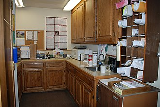 Mailroom - A typical mailroom and kitchenette.