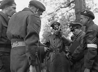 History of Wageningen - Major K. Henninger, a German Army Signals officer, negotiating with Canadian forces