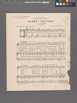 Edwin Arden - Mamma's love song, Lyrics by Edwin Hunter Arden and dedicated to his daughter Mildred Lorna Arden