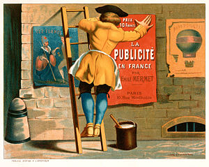 Man posting an advertisement for La publicité en France par Emile Mermet.jpg