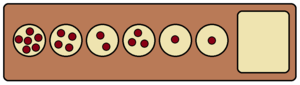 Kalah - This pattern of stones can be captured in a single turn by chaining together 17 consecutive moves. This is the longest such chain possible on a standard 6-pit board.
