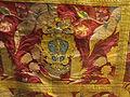 Manifattura francese, parato in terzo, lampasso lanciato in seta e broccato con oro e argento, 1720 circa, stemma.JPG
