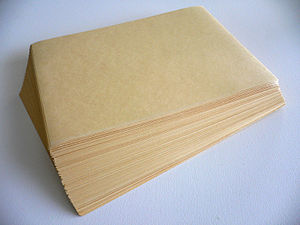 A stack of manila paper.