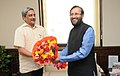 Manohar Parrikar calls on the Minister of State for Information and Broadcasting (Independent Charge), Environment, Forest and Climate Change (Independent Charge) and Parliamentary Affairs, Shri Prakash Javadekar.jpg