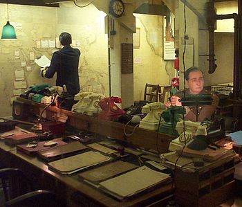 The Map Room in the Churchill Museum and Cabin...