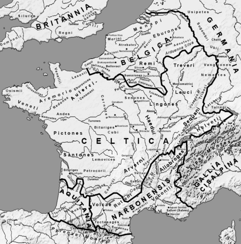 Map of Gaul before complete Roman conquest (circa 58 BCE) and its five main regions : Celtica, Belgica, Cisalpina, Narbonensis and Aquitania. Map Gallia Tribes Towns.png