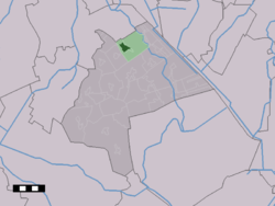 The town centre (dark green) and the statistical district (light green) of Annen in the municipality of Aa en Hunze.