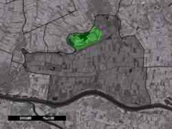 The town centre (dark green) and the statistical district (light green) of Heukelum in the municipality of Lingewaal.