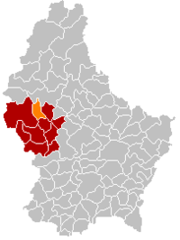 Map of Luxembourg with Wahl highlighted in orange, the district in dark grey, and the canton in dark red