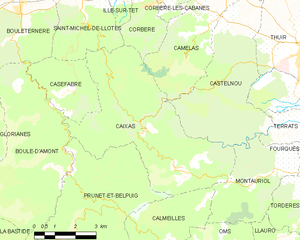 Caixas - Map of Caixas and its surrounding communes