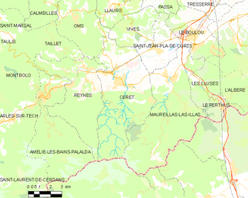 Map of the commune of Céret