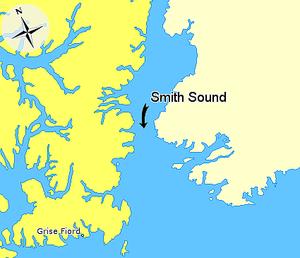 Smith Sound - Image: Map indicating Smith Sound, Nunavut, Canada