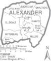 Map of Alexander County North Carolina With Municipal and Township Labels.PNG
