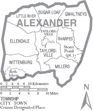 Map of Alexander County, North Carolina With Municipal and Township Labels