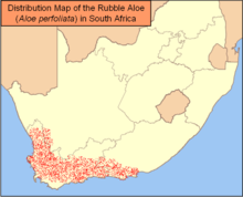 Map of South Africa showing highlighted range in the southwest